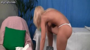 Luscious blonde cutie gets her ass fingered