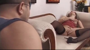 Smoking hot Megan Sage is wearing black stockings and boots with high heels while getting fucked